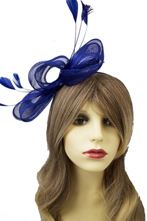 Large Light Navy Blue Bow Hairband Fascinator